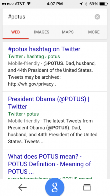 Results of a Google search on #POTUS