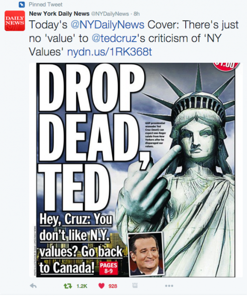 Drop Dead Ted-NY Daily News to Ted Cruz
