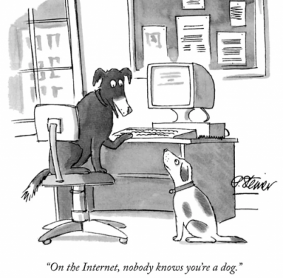 "New Yorker ""Nobody knows you're a dog"" cartoon."