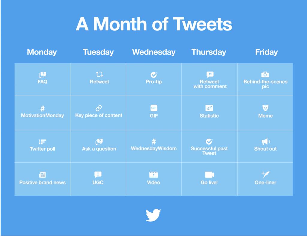 Twitter calendar for marketers